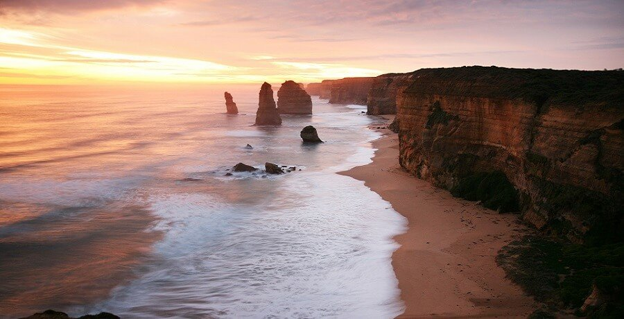 sunset on the great ocean road